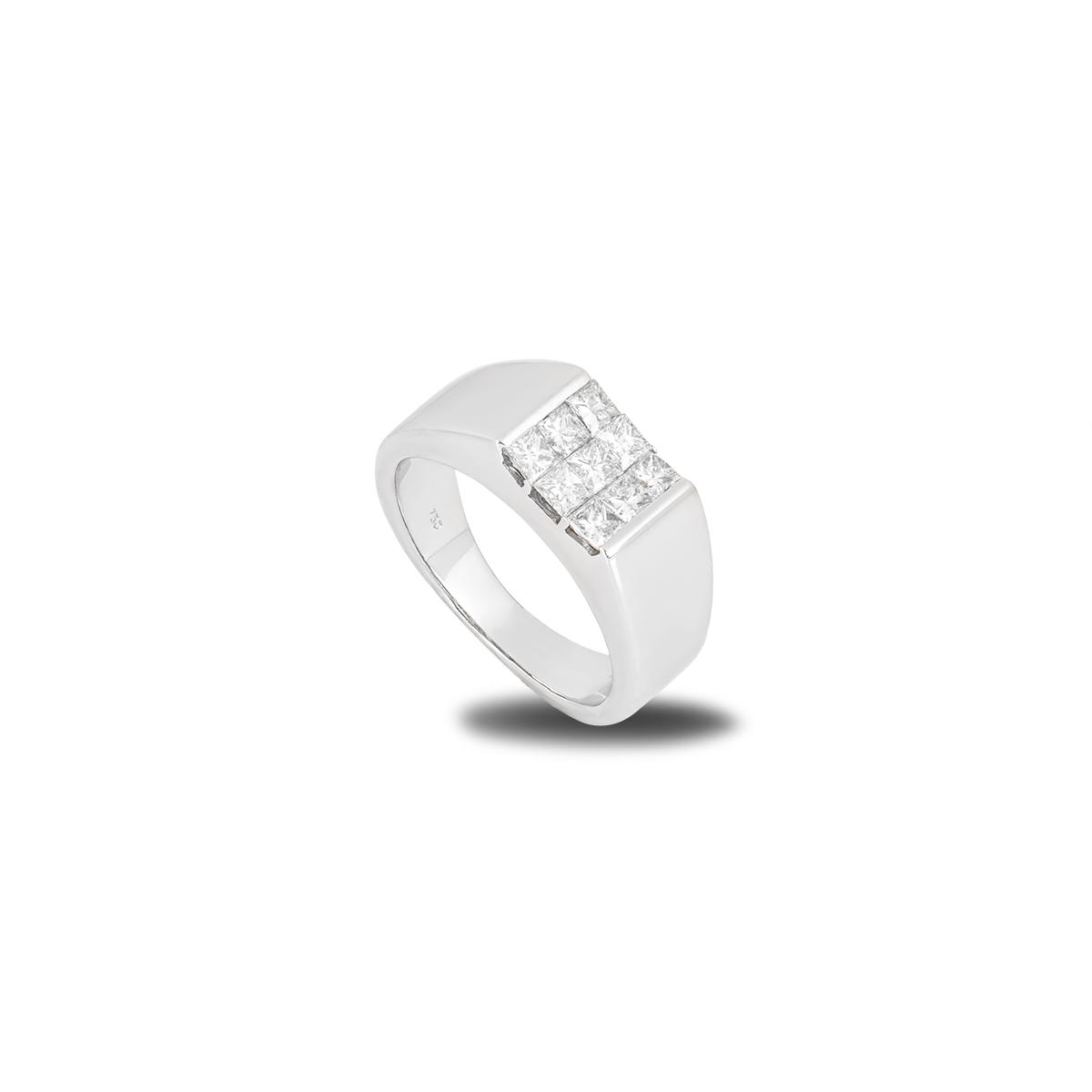 White Gold Princess Cut Diamond Signet Ring